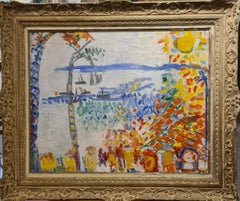 Baie des Anges, Nice, large Mid Century oil on canvas in the style of Raoul Dufy