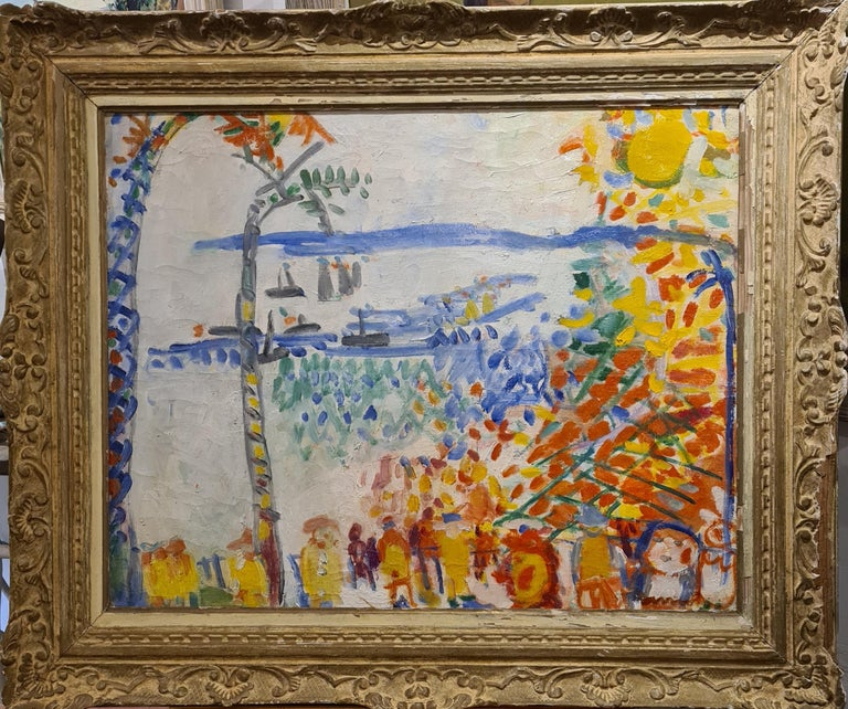 Armand Avril Landscape Painting - Baie des Anges, Nice, large Mid Century oil on canvas in the style of Raoul Dufy