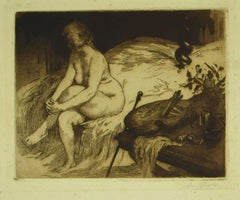 Nude - Original Etching - 19th Century