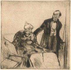 Amateurs d'Estampes - Original Etching by Armand Coussens - 1921