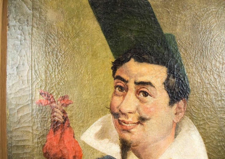 Oiled Armand Désiré Gautier, Caricature Oil on Canvas, Late 19th Century For Sale