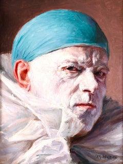 Grumpy Pierrot - Impressionist Oil, Portrait of Clown by Armand Francois Henrion