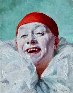 Pierrot - 19th Century Oil, Portrait of a Clown by Armand Francois Henrion