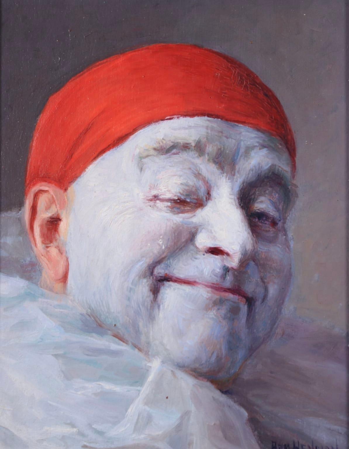 Pierrot - Impressionist Oil, Portrait of a Clown by Armand Francois Henrion