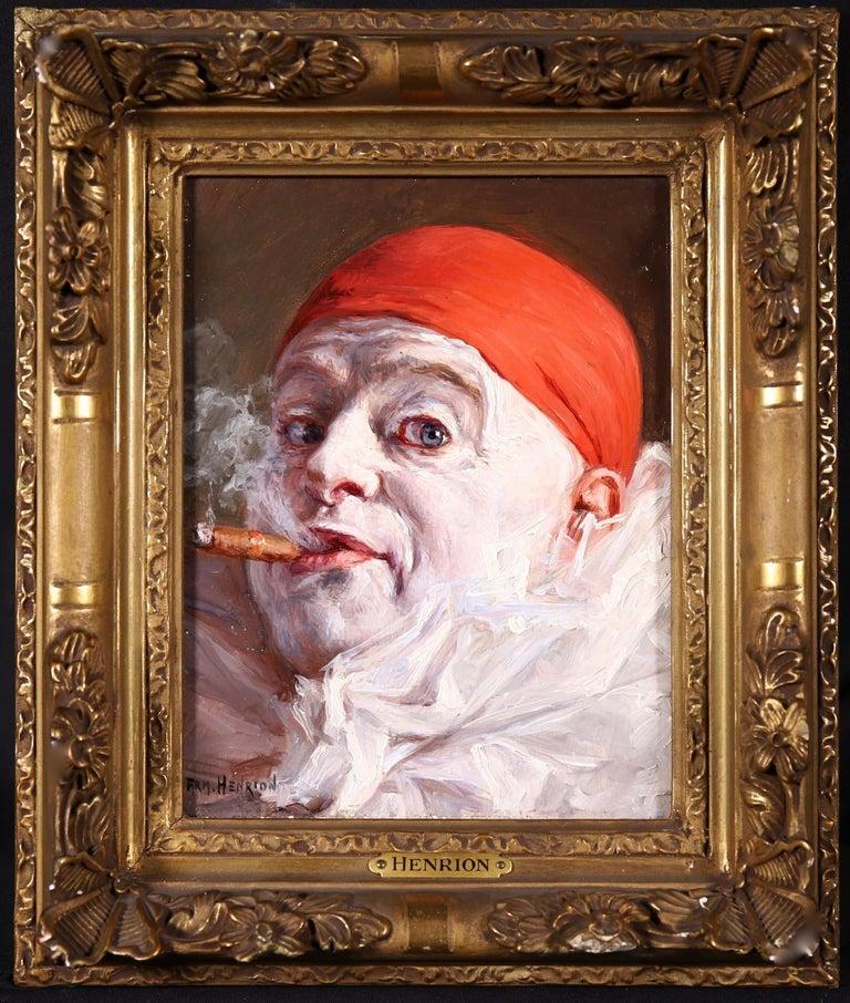 Pierrot smoking a Cigar - Impressionist Oil, Portrait by Armand Francois Henrion - Painting by Armand (François Joseph) Henrion