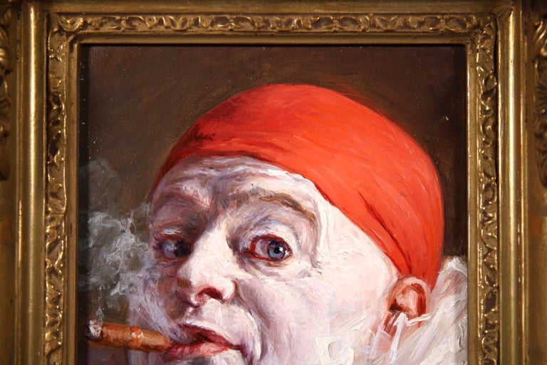 Pierrot smoking a Cigar - Impressionist Oil, Portrait by Armand Francois Henrion - Brown Portrait Painting by Armand (François Joseph) Henrion