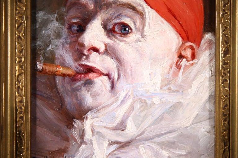 Pierrot smoking a Cigar - Impressionist Oil, Portrait by Armand Francois Henrion For Sale 1