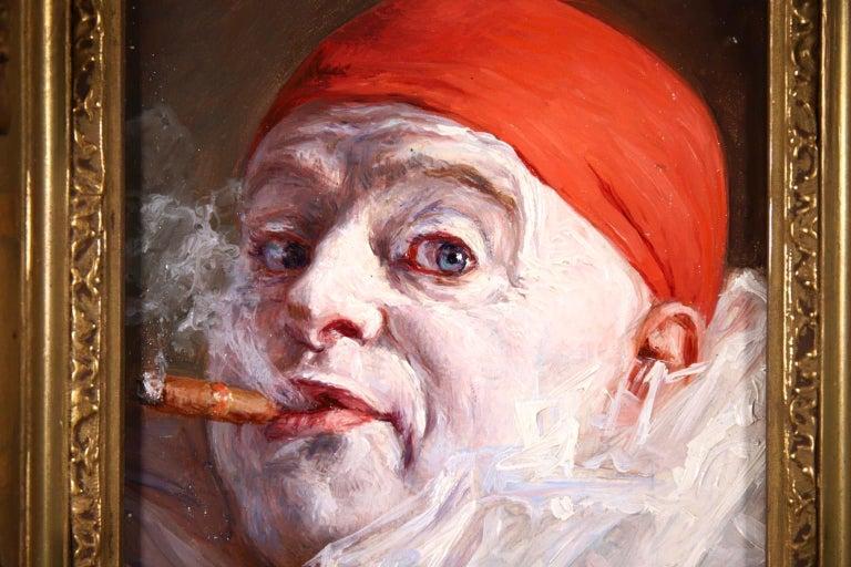 Pierrot smoking a Cigar - Impressionist Oil, Portrait by Armand Francois Henrion For Sale 2