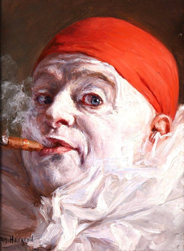 Armand (François Joseph) Henrion Portrait Painting - Pierrot smoking a Cigar - Impressionist Oil, Portrait by Armand Francois Henrion