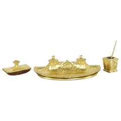 Armand Guénard for Susse Frères Gilt Bronze Antique Inkwell Desk Writing Set