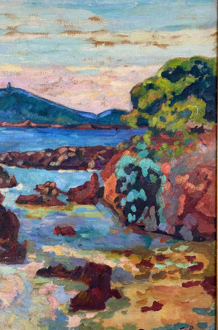 'Agay, le château et le Sémaphore'. Oil on canvas. +/- 1922 Signed lower right Measurements : 60 x 73 cm. This painting will be recorded in the second volume of the Catalogue Raisonné Armand  Guillaumin currently prepared by the Comité Guillaumin.