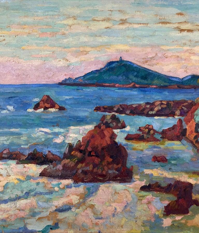 'Agay, le château et le Sémaphore'. Oil on canvas. Signed.  For Sale 1