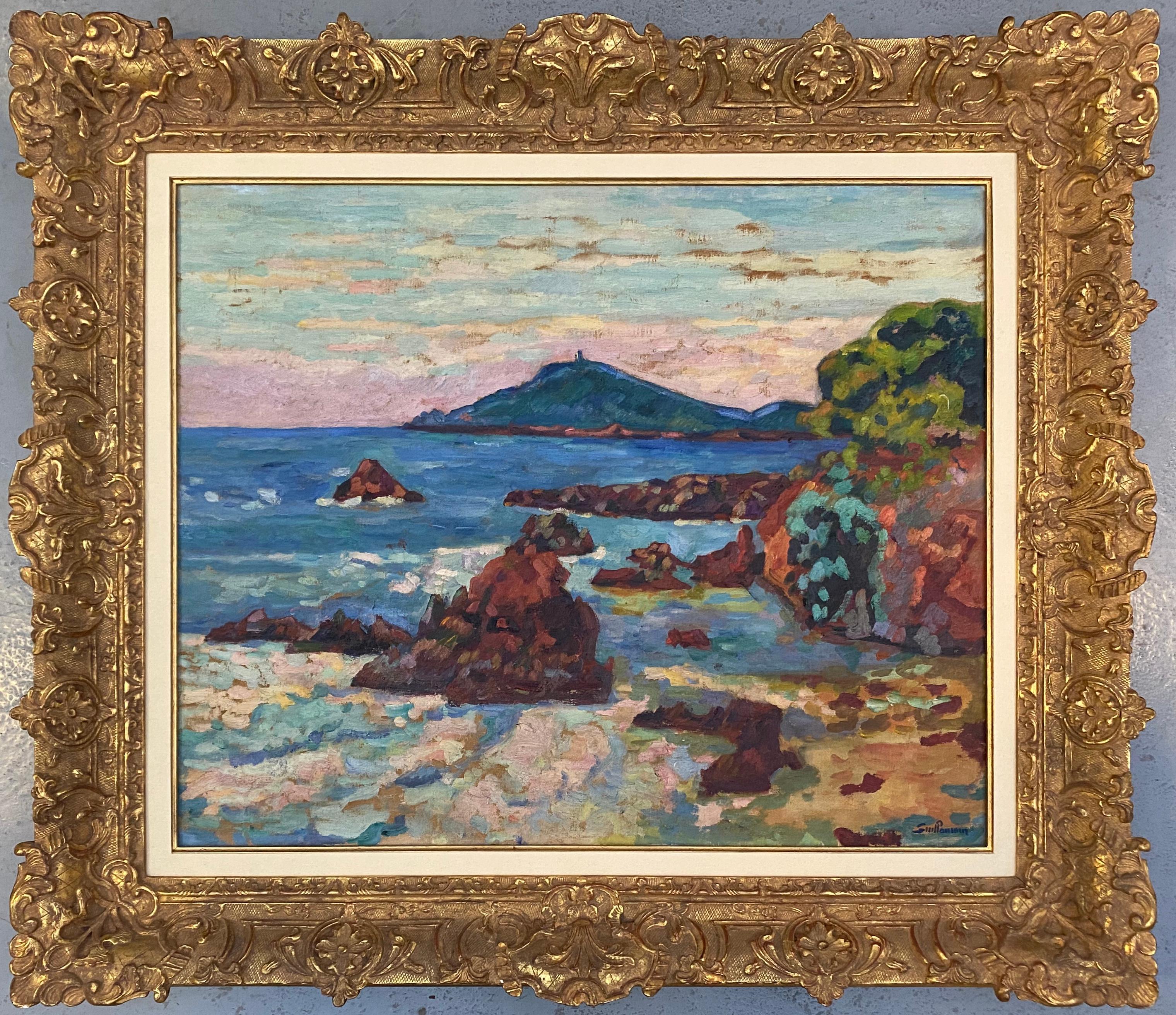 'Agay, le château et le Sémaphore'. Oil on canvas. Signed.