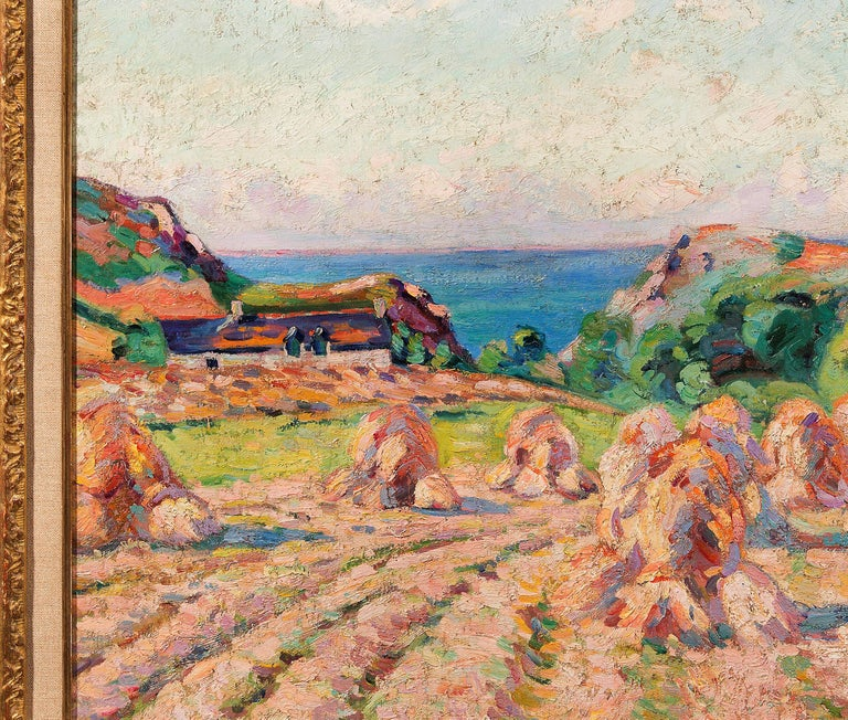 Haystacks, 1907 - Brown Landscape Painting by Armand Guillaumin