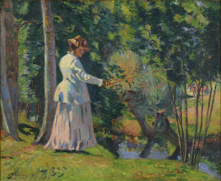 Madame Guillaumin Pêchant by ARMAND GUILLAUMIN - Impressionist, Landscape - Painting by Armand Guillaumin