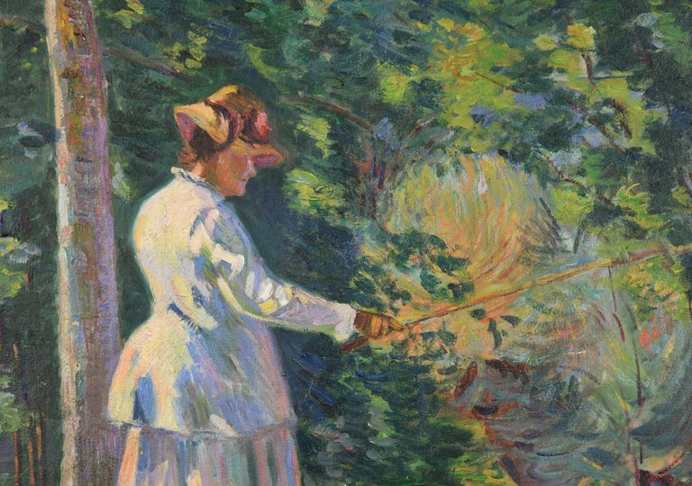 Madame Guillaumin Pêchant by ARMAND GUILLAUMIN (1841-1927)  Oil on canvas 50.2 x 61 cm (19 ³/₄ x 24 inches) Signed Guillaumin lower left Executed circa 1894  Provenance Collection of Marcel Bernheim, Paris Christie's London, 23rd April 1971 Kaplan