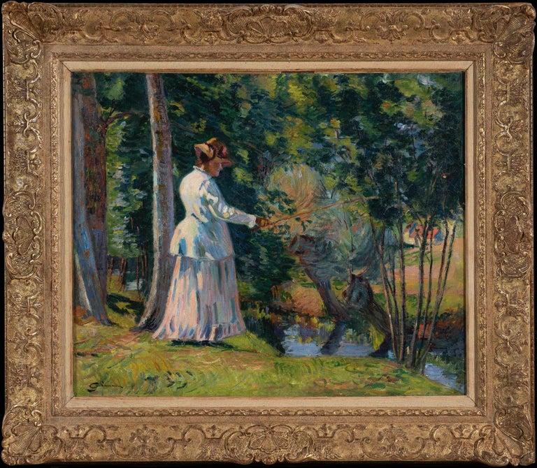 Armand Guillaumin Landscape Painting -  Madame Guillaumin Pêchant by ARMAND GUILLAUMIN - Impressionist, Landscape