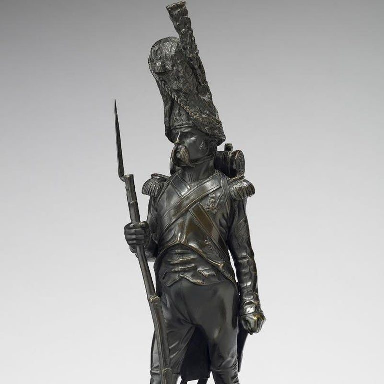 Armand Le Veel  1821-1905 French  Grenadier a Pied de la Garde Imperiale  Signed and sealed Susse Foundry Bronze with black patina  14 3/4