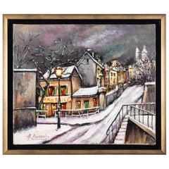 Armand Lourenco Oil on Canvas Montmartre Le Lapin Agile, circa 1920