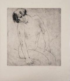 Attractive Nude - Original drypoint etching, Handsigned, 1928