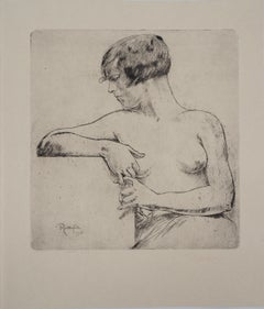 Leaning Nude - Original drypoint etching, Handsigned, 1928