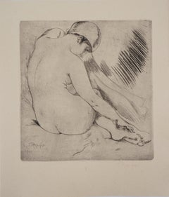 Nude with a Scarf - Original drypoint etching, Handsigned, 1928