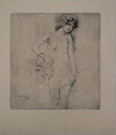 Young Girl with Flowers - Original drypoint etching, Handsigned, 1928