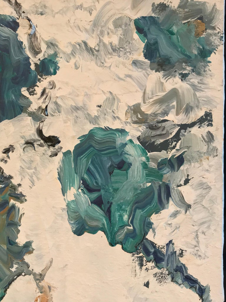 Blues, Greens & Turquoise signed lower right by Armand Rottenberg (French 1903-2000) oil painting on board, unframed  painting: 20 x 15.75 inches  Stunning original abstract expressionist oil painting by the French abstract artist (and poet), Armand