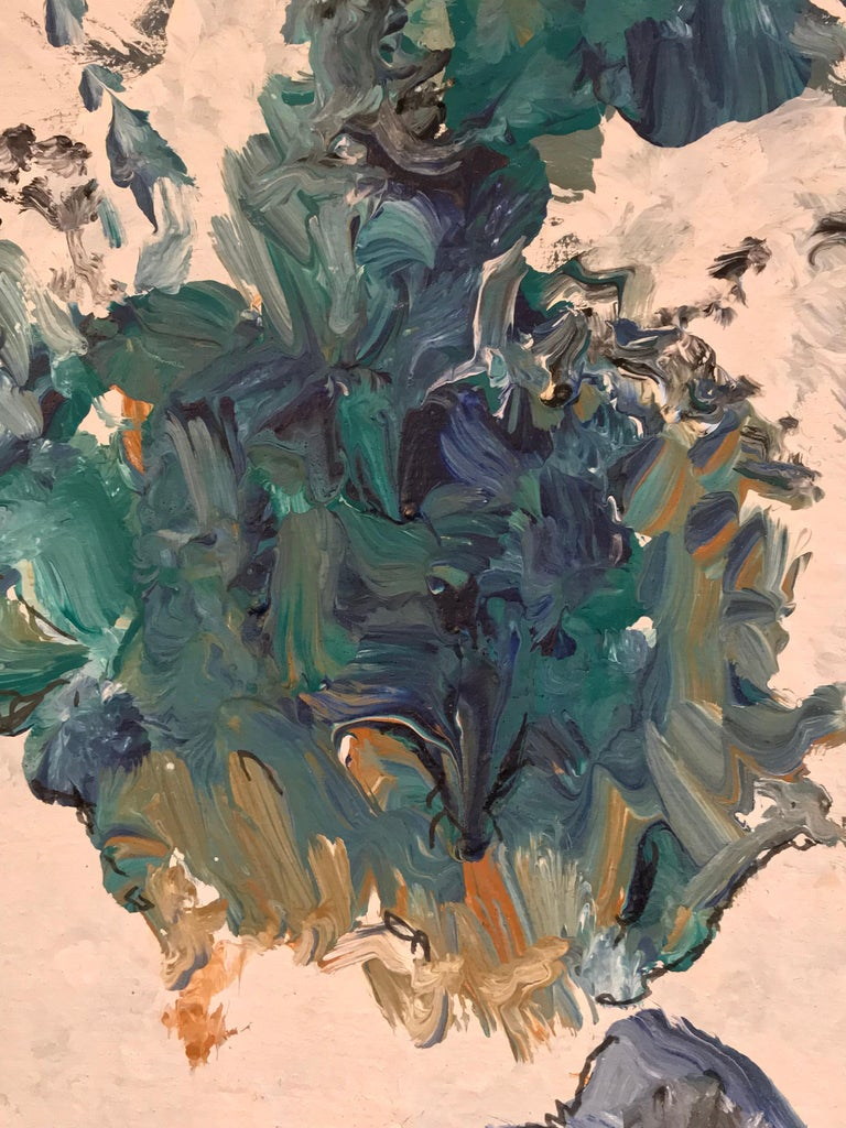 BLUES & GREEN TURQUOISE French Expressionist Abstract Oil Painting  For Sale 2