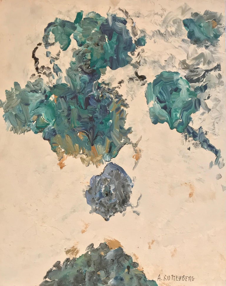 Armand Rottenberg Interior Painting - BLUES & GREEN TURQUOISE French Expressionist Abstract Oil Painting