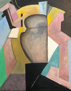 French Cubist Abstract Oil Painting Soft Pinks with Black and Yellow