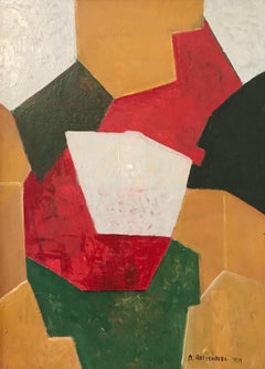 Huge French Cubist Abstract Oil Painting 6 Colours