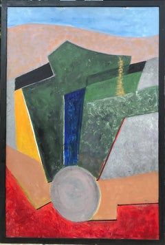 Huge French Cubist Abstract Oil Painting, signed