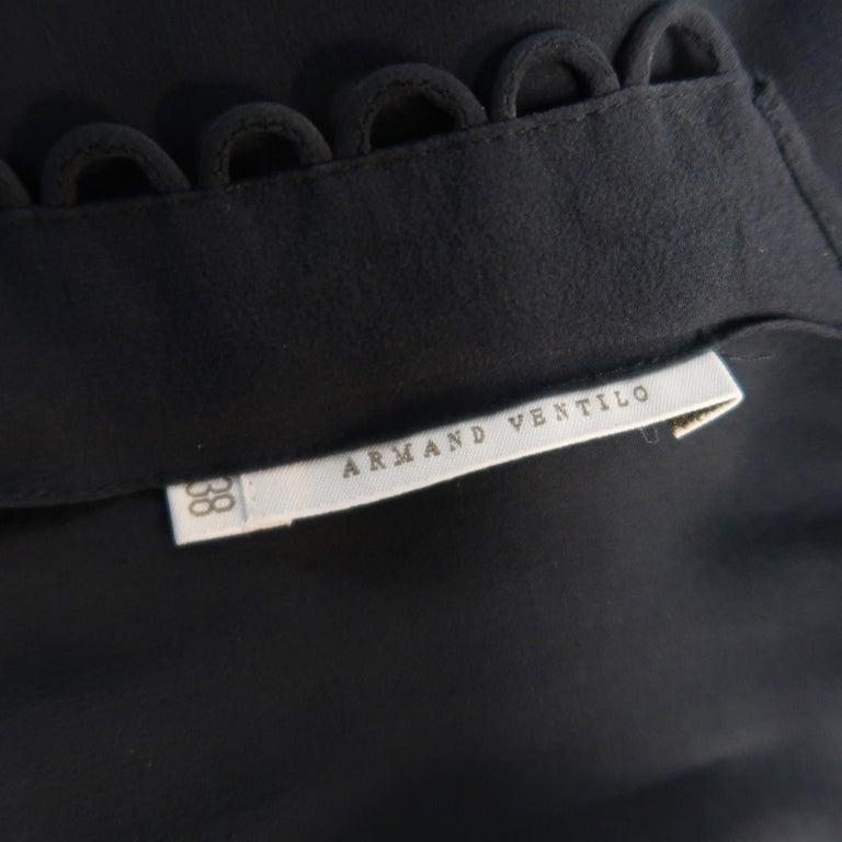 ARMAND VENTILO Size 4 Navy Silk Chiffon V Neck Sleeveless Maxi Dress For Sale 5