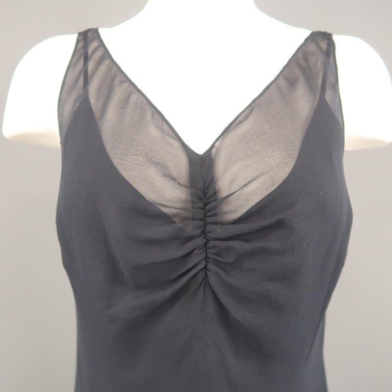 Black ARMAND VENTILO Size 4 Navy Silk Chiffon V Neck Sleeveless Maxi Dress For Sale