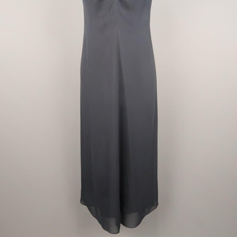 ARMAND VENTILO Size 4 Navy Silk Chiffon V Neck Sleeveless Maxi Dress In Excellent Condition For Sale In San Francisco, CA
