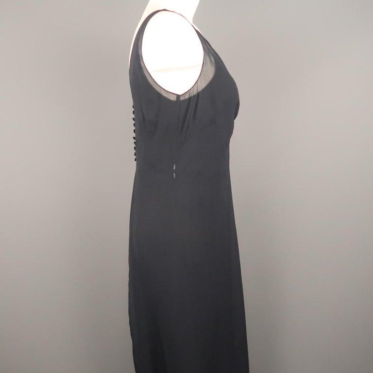 Women's ARMAND VENTILO Size 4 Navy Silk Chiffon V Neck Sleeveless Maxi Dress For Sale