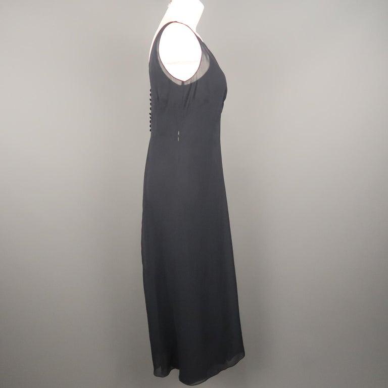 ARMAND VENTILO Size 4 Navy Silk Chiffon V Neck Sleeveless Maxi Dress For Sale 1