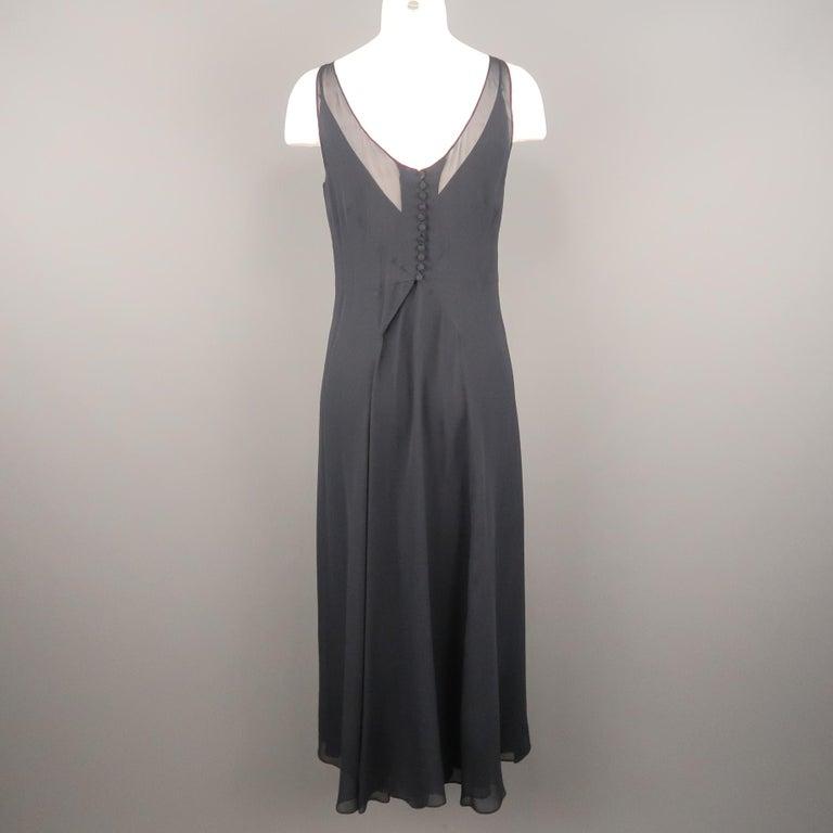 ARMAND VENTILO Size 4 Navy Silk Chiffon V Neck Sleeveless Maxi Dress For Sale 2