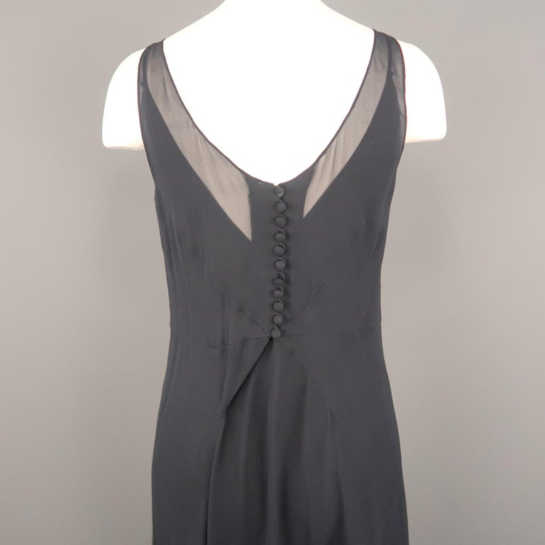 ARMAND VENTILO Size 4 Navy Silk Chiffon V Neck Sleeveless Maxi Dress For Sale 3