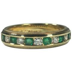 Armandi 18 Karat Yellow Gold Diamonds and Emeralds Stacking Band