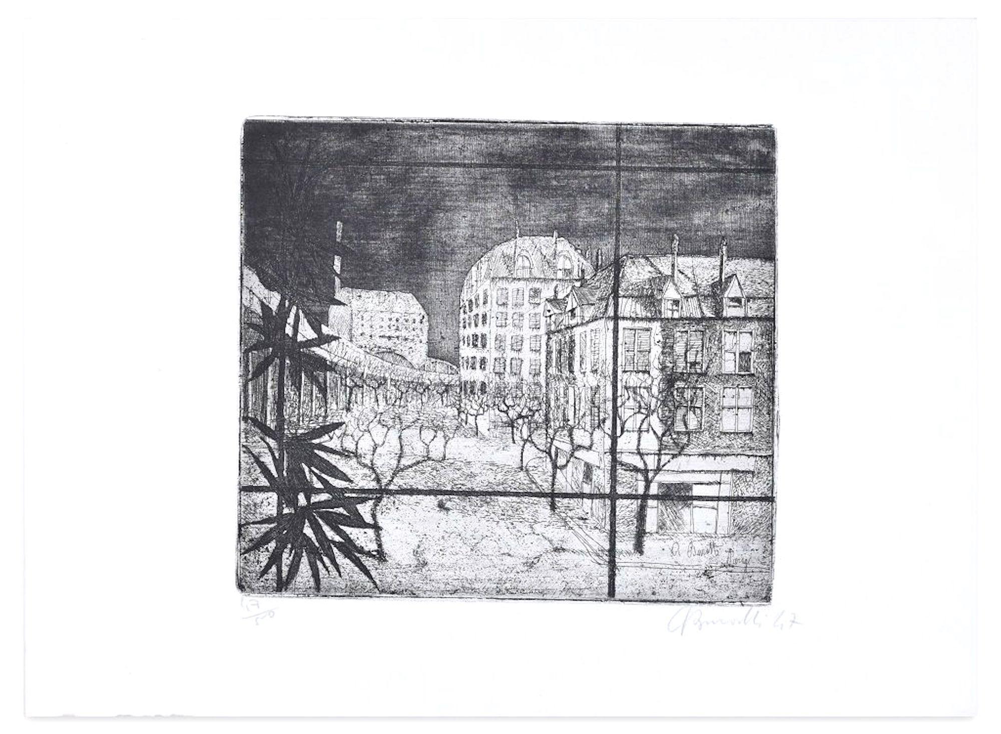 Paris - Original Etching by A. Buratti - 1947
