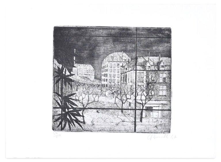 Armando Buratti Landscape Print - Paris - Original Etching by A. Buratti - 1947