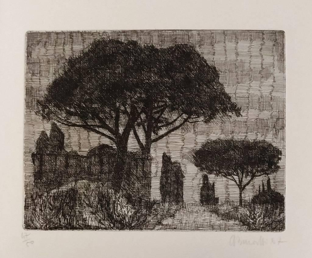 Rome, Park of the Aqueducts - Original Etching by A. Buratti - 1967