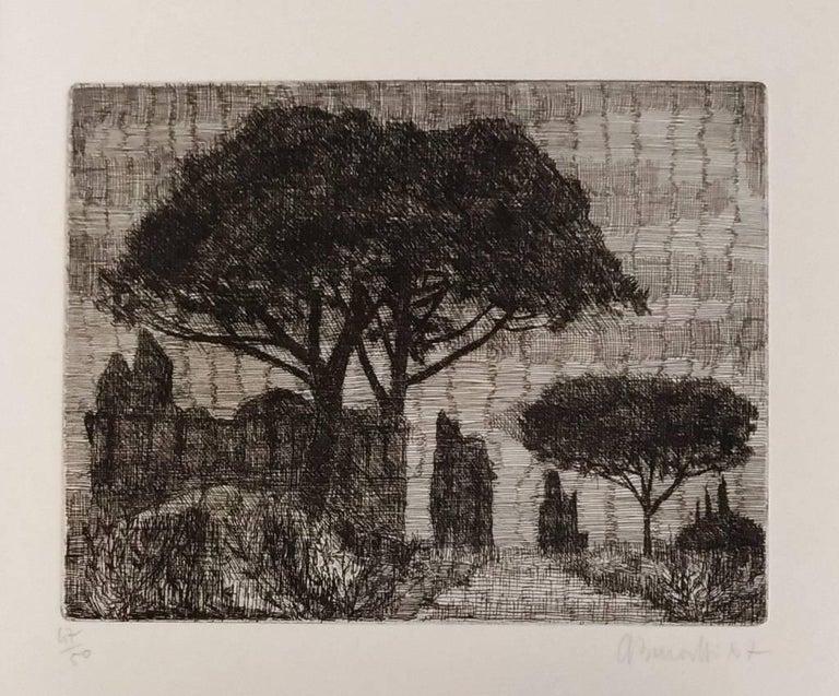 Armando Buratti Landscape Print - Rome, Park of the Aqueducts - Original Etching by A. Buratti - 1967