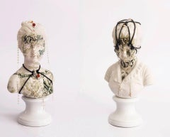 """Untitled #10 and #9"" Antique busts from ''Los Infortunios de la Virtud'' series"