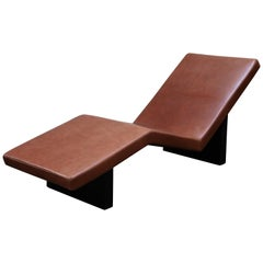 "Armani Casa Architectural ""Stock Market"" Chaise Lounge in Medium Brown Leather"