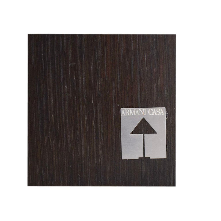 Ebonized Armani Casa Brown Black Oak Writing Table 'Paris' Desk Console, Modern Minimal For Sale