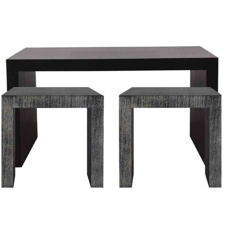 Armani Casa brown black oak writing table 'Paris' desk console, modern minimal gorgeous contemporary design. With maker's mark. Diminutive dimensions. Perfect sculptural form with pleasing lines. Made in Italy. MSRP 13,800 USD.