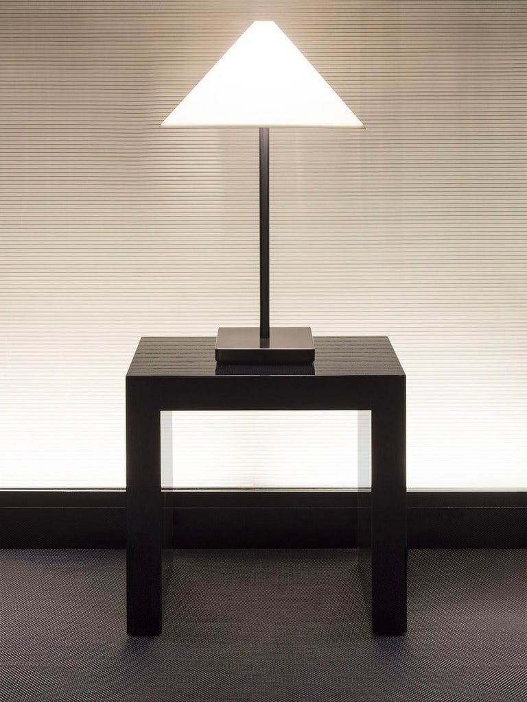 """Armani Casa ebonized brown black brushed oak """"Paris"""" side table, minimal modern Italian made. Listing is for a single table. Two available."""